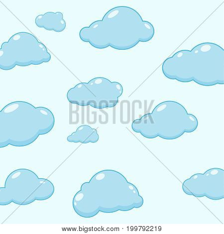 Abstract background with cartoon cloudy. Cloud vector icons. Sky blue atmospheric bubbles. Comic nature cloudscape weather symbols. Cute childish illustration.