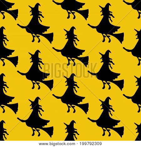Witch on the broom pattern on the yellow background. Vector illustration