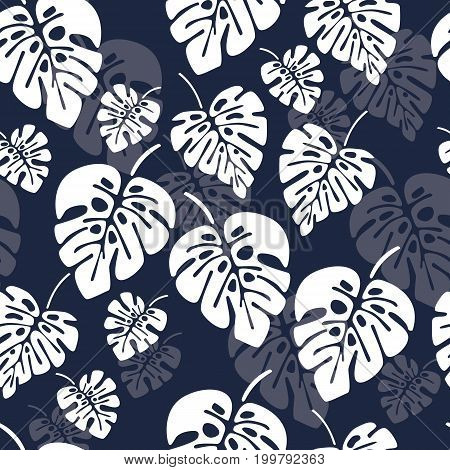 Summer seamless pattern with white monstera palm leaves on blue background vector illustration