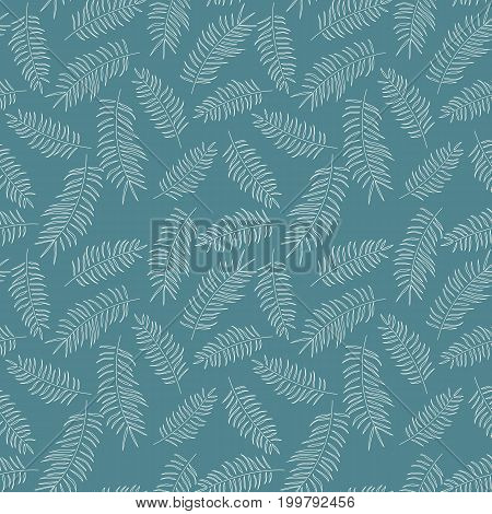 Seamless pattern with white tropical leaves on blue background vector illustration