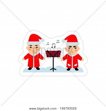 paper sticker on white background children sing carols