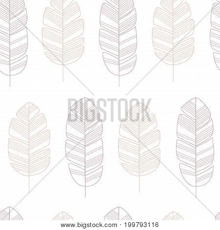 Seamless pattern with pink leaves on white background vector illustration