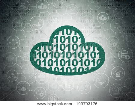 Cloud computing concept: Painted green Cloud With Code icon on Digital Data Paper background with Scheme Of Hand Drawn Cloud Technology Icons