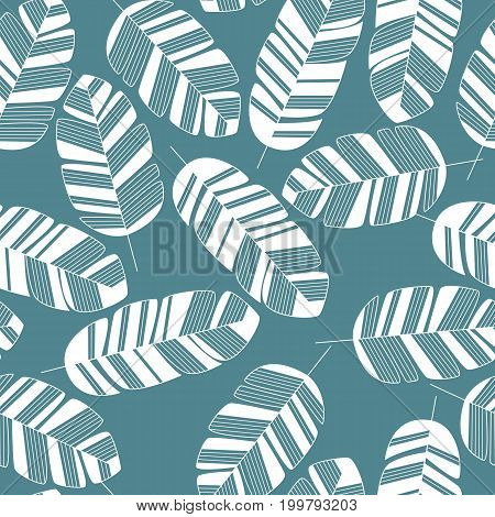 Seamless pattern with white leaves on blue background vector illustration