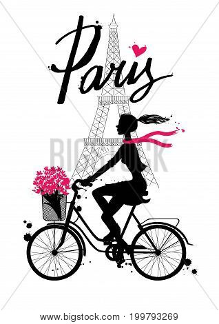 A girl rides a Bicycle. Paris. Vector hand drawn illustration with Eiffel tower. Fashion accessories. Silhouette cyclist.