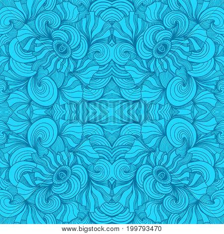 Abstract Zen-doodle seamless pattern in  blue colors for  decoration cosmetic perfume textile clothes package