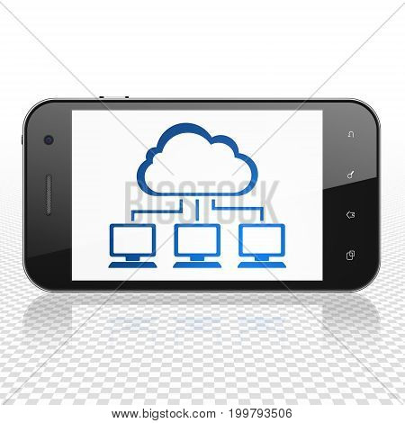 Cloud computing concept: Smartphone with  blue Cloud Network icon on display,  Tag Cloud background, 3D rendering