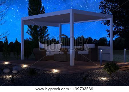 3d rendering of white patio roof outside at green garden with pebbles and shrubs iunder stars night sky