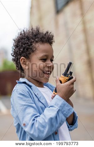 Cute Smiling Afro Boy With Portable Radio Set