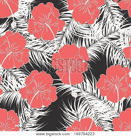 Seamless tropical pattern with white leaves and red flowers on white background vector illustration