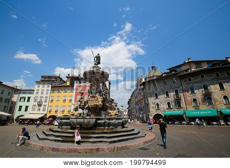 Neptune Fountain In Trento, Italy