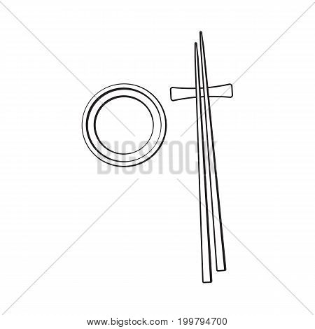 Bamboo Asian, Chinese, Japanese chopsticks lying on soy sauce bowl, sketch vector illustration isolated on white background. Traditional Chinese, Japanese, Thai cuisine - chopsticks and soy sauce