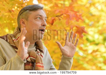 close up portrait of handsome man posing, autumn leaves on background