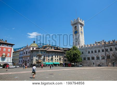 Torre Civica At The Piazza Duomo In Trento, Italy