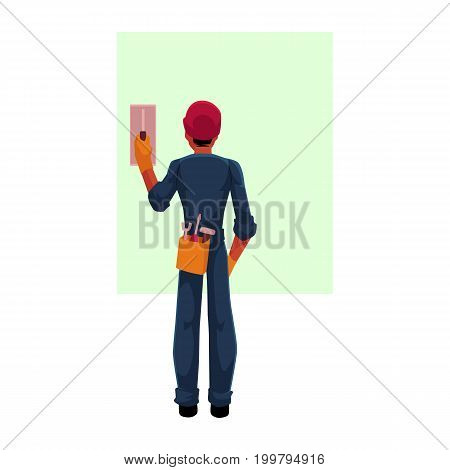 Construction worker, electrician, technician in hardhat and jumpsuit switching contact breaker, cartoon vector illustration with space for text. . Full length, rear view portrait of electrician