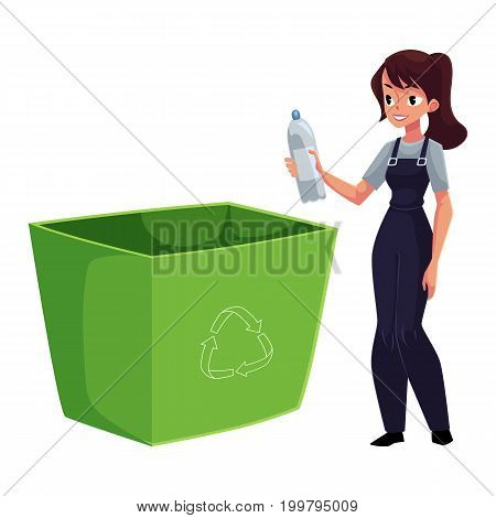 Young woman throwing plastic bottle in trash, garbage recycling concept, cartoon vector illustration isolated on white background. Woman putting plastic bottle into trash bin, garbage collection
