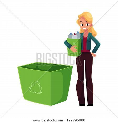 Young woman holding box of plastic bottles, garbage recycling concept, cartoon vector illustration isolated on white background. Full length portrait of woman throwing plastic bottles into trash bin