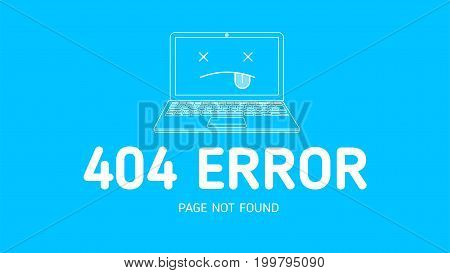 404  error with icon notebook design template for website with blue background graphic