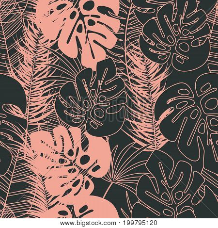 Summer seamless tropical pattern with monstera palm leaves and plants on dark background vector illustration