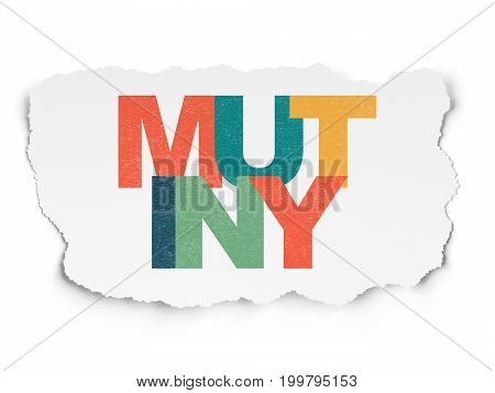 Politics concept: Painted multicolor text Mutiny on Torn Paper background