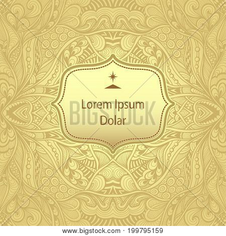 Template with Zen-tangle abstract pattern for package or label in light gold for advertising perfume cosmetic alcohol tea coffee or other things