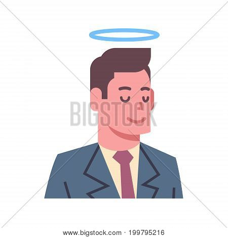 Male Head With Nimbus Emotion Icon Isolated Avatar Man Facial Expression Concept Face Vector Illustration