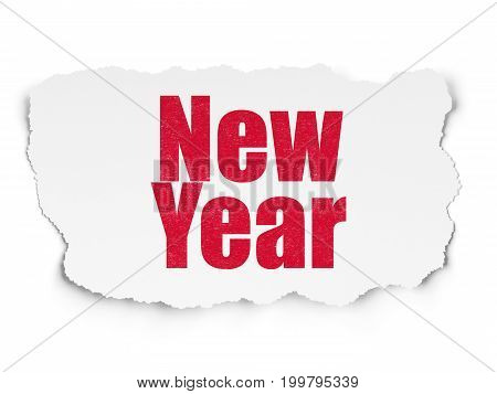 Holiday concept: Painted red text New Year on Torn Paper background with Scheme Of Hand Drawn Holiday Icons