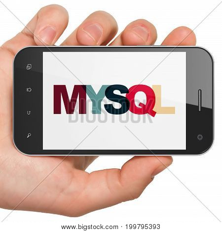 Database concept: Hand Holding Smartphone with Painted multicolor text MySQL on display, 3D rendering