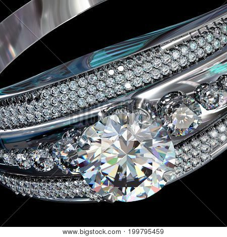 Silver band for engagement with gem. Top view of diamond facetes luxury jewellery bijouterie ring from white gold or platinum with gemstone. 3D rendering on black background. Brilliant pure water.