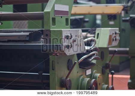 industrial metal operating CNC. Industrial iron machinery.