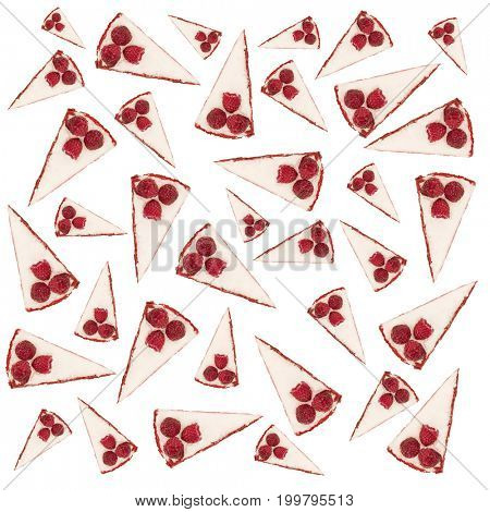 Pattern of pies with raspberries and white cream isolated over white background