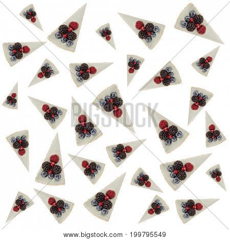 Pattern of blue cheesecakes with different tasty berries isolated