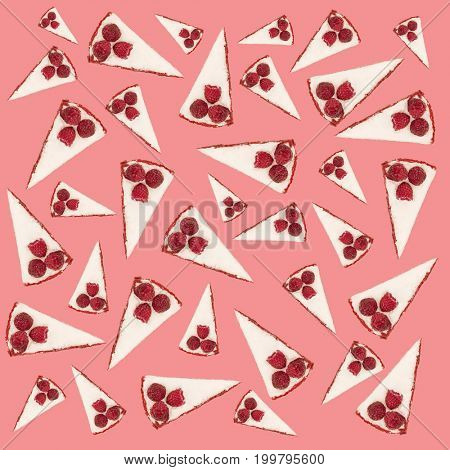 Pattern of pies with raspberries and white cream isolated over pink background