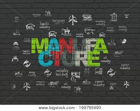 Industry concept: Painted multicolor text Manufacture on Black Brick wall background with  Hand Drawn Industry Icons