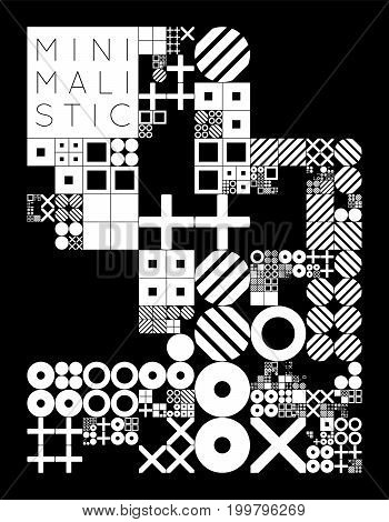 Subdivided grid system with symbols. Randomly sized objects with fixed space between. Futuristic minimalistic monochrome layout. Conceptual generative background. Procedural graphics. Creative coding