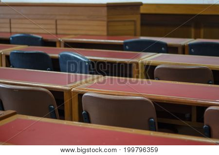 Lecture room with empty seats Business seminar education