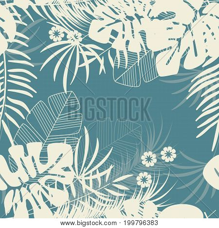 Summer seamless tropical pattern with monstera palm leaves and plants on blue background vector illustration