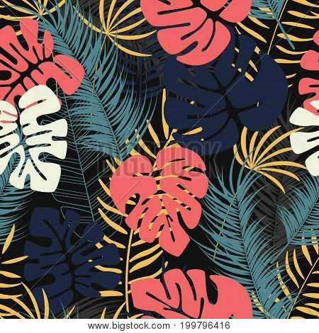 Summer seamless tropical pattern with colorful monstera palm leaves and plants on dark background vector illustration