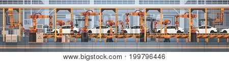 Car Production Conveyor Automatic Assembly Line Machinery Industrial Automation Industry Concept Flat Vector Illustration