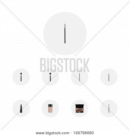 Realistic Pomade, Mouth Pen, Contour Style Kit And Other Vector Elements