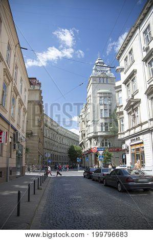 LVIV, UKRAINE - JULY 29, 2017:Fragment of Tadeusz Kosciuszko street in Lviv Ukraine