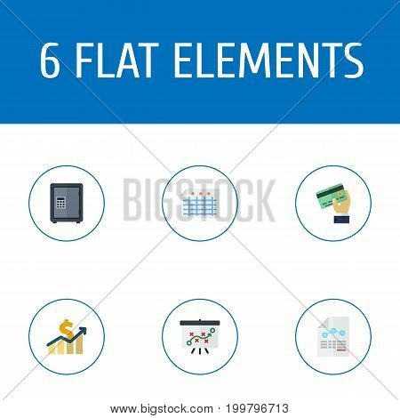 Flat Icons Paper, Sheet, Net Income And Other Vector Elements