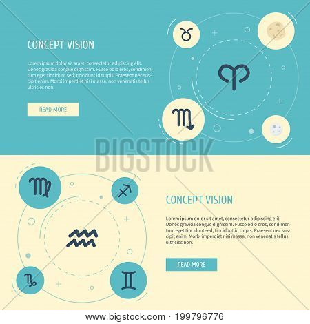 Flat Icons Goat, Virgin, Comet And Other Vector Elements
