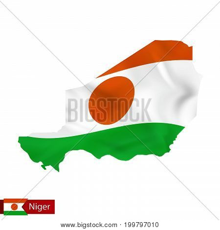 Niger Map With Waving Flag Of Country.
