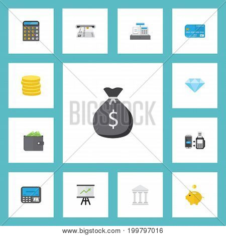 Flat Icons Growing Chart, Till, Jewel Gem And Other Vector Elements