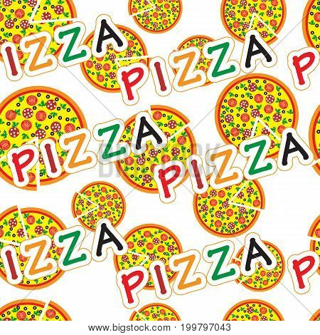 Pizza slice background pattern. Pizza, slice pizza and lettering text vector seamless pattern