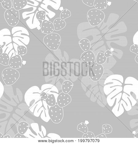 Seamless tropical pattern with monstera palm leaves and cactus on gray background vector illustration