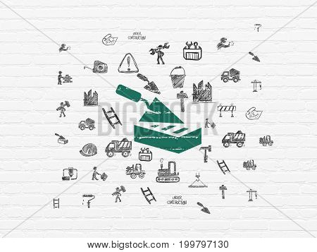 Construction concept: Painted green Brick Wall icon on White Brick wall background with  Hand Drawn Building Icons