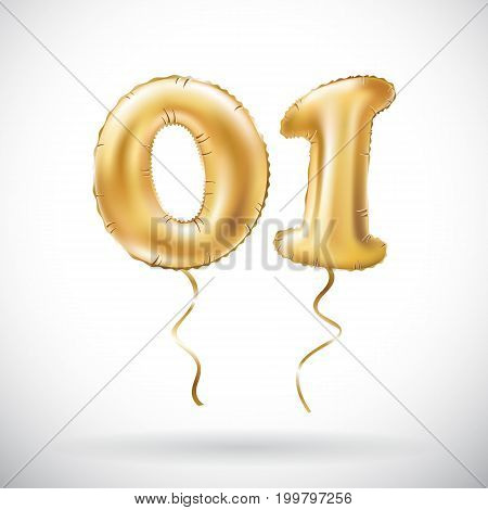 Vector Golden Number 01 Zero One Metallic Balloon. Party Decoration Golden Balloons. Anniversary Sig