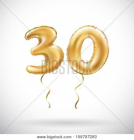Vector Golden Number 30 Thirty Metallic Balloon. Party Decoration Golden Balloons. Anniversary Sign